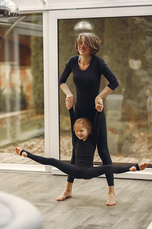 mother and daughter doing ballet